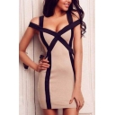 Womens Sexy Scoop Neck Sleeveless Tie Striped Side Cami Bodycon Dress