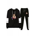 Autumn Winter Comic Print Long Sleeve Hoodie Top with Drawstring Sweatpants Two Piece Set