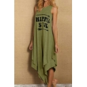 Womens Summer Casual Round Neck Sleeveless HIPPIE SOUL Letter Asymmetrical Maxi Tank Dress