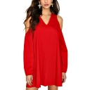 Womens Sexy V-Neck Long Sleeve Hollow Plain Loose Chiffon Shift Midi Dress