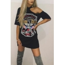 Womens Sexy Round Neck Short Sleeve Hawk Motorcycle Letter Print Hollow Black Midi Shift T-Shirt Dress