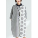 Womens Summer Fashion Lapel Collar Half Sleeve Panelled Polka Dot Button Up Loose Shirt Shift Midi Dress