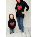 Hot Popular Glitter Sequined Patched Lover Heart Printed Casual Loose Parent-Child Long Sleeves Pullover Hoodie