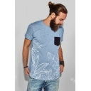 New Arrival Mens Short Sleeve Floral Printed Pocket Patch Leisure Basic T-Shirt