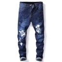 Men's Popular Fashion Splash Paint Letter Printed Dark Blue Regular Fit Casual Jeans
