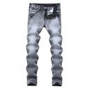 Men's Hot Fashion Simple Plain Grey Stretched Slim Fit Jeans