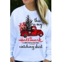 New Trendy White Long Sleeve Round Neck Christmas Movies Letter Pullover Sweatshirts