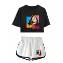 Funny Colorful Geometric Figure Print Short Sleeve Crop Tee with Loose Dolphin Shorts Two-Piece Set Co-ords