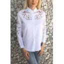 Stylish White Long Sleeve Button Front Floral Embroidered Lady Leisure Shirt