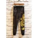 Men's Chinese Style New Fashion Dragon Printed Black Drawstring Waist Ice Silk Fabric Casual Pants