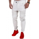 Men's New Fashion Solid Color Pleated Patched Casual Slim Cotton Pencil Pants