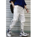 Men's Street Trendy Letter Pattern Contrast Tape Side Casual Loose Track Pants