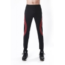 Men's Fashion Contrast Curve Stripe Printed Zipped Pocket Elastic Waist Casual Running Sweatpants