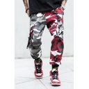 Men's Cool Fashion Colorblock Camouflage Printed Ribbon Embellished Drawstring Waist Hip Pop Trendy Cargo Pants with Side Pockets
