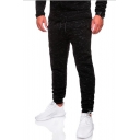 Men's New Fashion Simple Plain Black Casual Jogging Sweatpants Slim Pencil Pants