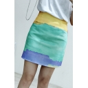 Classic Fashion High Waist Colorblock Tie Dye Slim Fitted Mini A-Line Skirt for Women