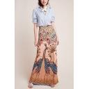 Womens Elegant Elastic Waist Peacock Opening Ethnic Printed Maxi Slim Fitted Straight Skirt