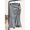 New Arrival High Waist Check Printed Button Side Slit Back Commute Fishtail Hem Midi Skirt