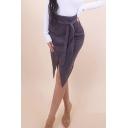 Plain High Waist Split Front Asymmetric Hem Self-Tie Midi Suede Wrap Skirt