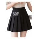 Hot Popular High Waist BAOBAN Letter Embroidered Slim Fitted Pleated Mini Skirt