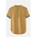 Mens Plain Short Sleeve Stand Collar Button Front Casual Loose Linen Cotton Shirt