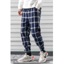 Guys Hot Fashion Plaid Pattern Drawstring Waist Gathered Cuffs Casual Loose Sports Tapered Pants
