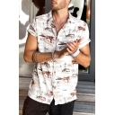 White Short Sleeve Lapel Collar Single Breasted Floral Printed Fashion Mens Shirt