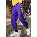 Street Style Trendy Colorblock Patched Side Letter TTWAN Printed Purple Casual Loose Track Pants For Guys