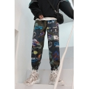 Guys New Fashion Comic Letter Printed Trendy Loose Track Pants
