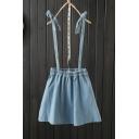 Summer Plain Elastic Waist Washed Straps Mini A-Line Denim Overall Skirt