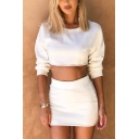 Trendy Long Sleeve Round Neck Cropped Sweatshirt with Elastic Waist Mini Skirt Solid Color Loose Co-ords