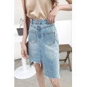 Summer Womens Trendy Light Blue High Rise Asymmetrical Frayed Hem Midi Fitted Denim Skirt