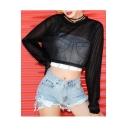Black Long Sleeve Round Neck Loose Sparkly Sheer Mesh Cropped T-Shirt
