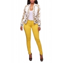Womens Fashion Pattern Long Sleeve Zip Up Fitted Short Jacket