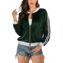 Womens Trendy Green Contrast Trim Stripe Long Sleeve Zip Up Jacket