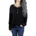 Unique Black Button Round Neck Long Sleeve Loose Leisure T-Shirt