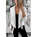 Cool Fashion Turn-Down Collar Long Sleeve Plain Zip Up Motor Jacket