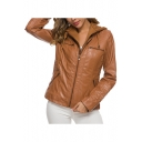 Womens Classic Fashion Simple Plain Long Sleeve Detachable Hooded Zip Up PU Leather Jacket Coat