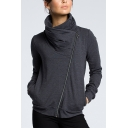 Womens Hot Trendy High Neck Plain Oblique Zip Up Fitted Sweatshirt Jacket