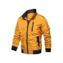 Men's Popular simple Plain Stand Collar Zip Placket Padded Long Sleeve Casual Jacket