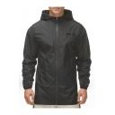 Unique Letter Logo Printed Long Sleeve Hooded Zip Up Windbreaker Black Jacket for Men