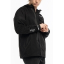 Mens Outdoor Training Running Plain Windbreaker Zip Up Long Sleeve Hooded Sport Black Track Jacket