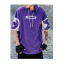 Men's Hot Sale Street Style Half Sleeve Print Colorblock Hip Hop Drawstring Hooded T-shirt