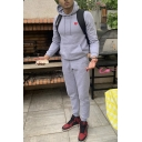 Men's New Fashion Heart Printed Grey Long Sleeve Drawstring Hoodie Sports Sweatpants Casual Two-Piece Set