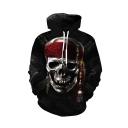 New Fashion Skull Printed Black Long Sleeve Casual Loose Drawstring Hoodie