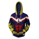 New Fashion Colorblock Popular Comic Cosplay Costume Blue Long Sleeve Zip Up Hoodie