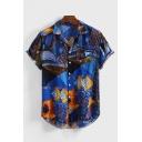 Guys Summer New Trendy Tribal Pattern Blue Casual Lapel Collar Short Sleeve Cotton Shirt
