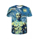 Cool Galaxy Muscle Figure Oil Painting Round Neck Short Sleeve Blue T-Shirt