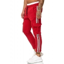 Mens New Fashion Popular Contrast Stripe Side Flap Pocket Drawstring Waist Slim Fitted Sports Pants Fitness Pencil Pants