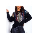 New Fashion Black Long Sleeve Round Neck Sequined Relaxed Pullover Sweatshirt